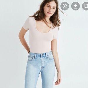 Madewell Cameo Scoop Neck Pink Bodysuit